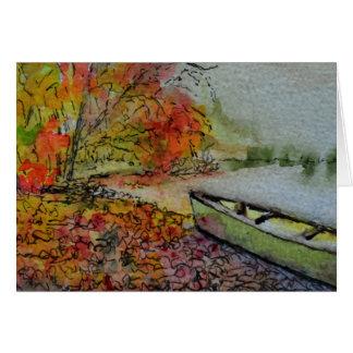 Canoe by An Autumn Pond Card