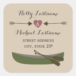 Canoe + Heart With Arrows Address Sticker