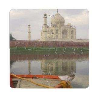 Canoe in water with Taj Mahal, Agra, India Puzzle Coaster