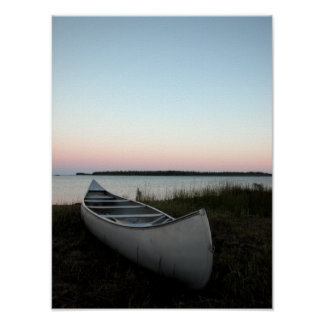 Canoe on Beach at Twilight Poster