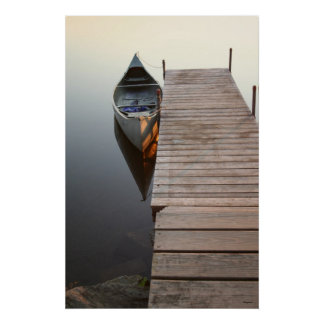 canoe on crystal clear lake - Customized Poster