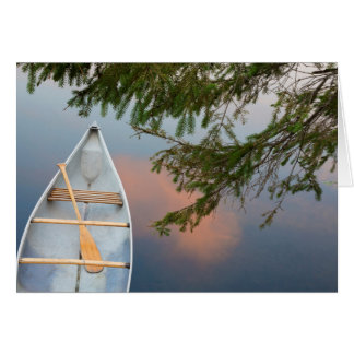 Canoe on lake at sunset, Canada Card