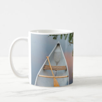 Canoe on lake at sunset, Canada Coffee Mug