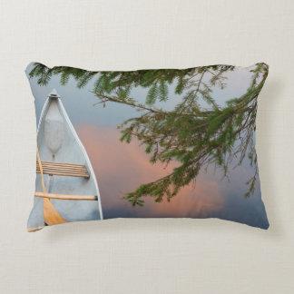 Canoe on lake at sunset, Canada Decorative Pillow