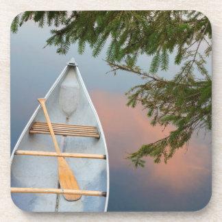Canoe on lake at sunset, Canada Drink Coaster