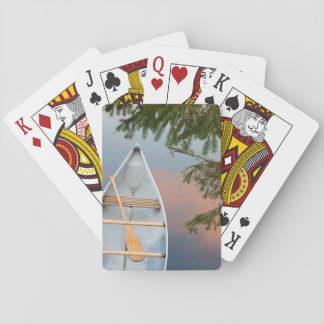 Canoe on lake at sunset, Canada Playing Cards
