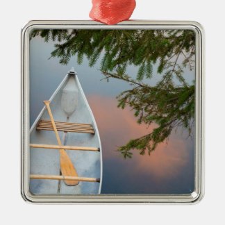 Canoe on lake at sunset, Canada Silver-Colored Square Ornament