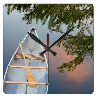 Canoe on lake at sunset, Canada Square Wall Clock