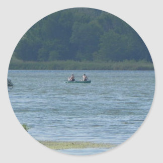 Canoe on the water classic round sticker