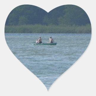Canoe on the water heart sticker