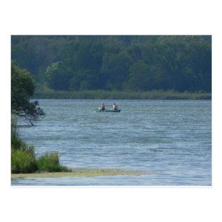 Canoe on the water postcard