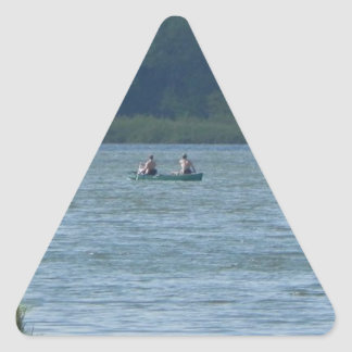 Canoe on the water triangle sticker