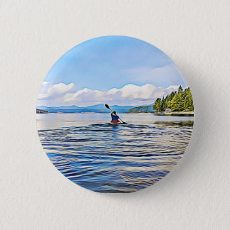 CAnoe or Kayaker on Lake and Mountains Background 2 Inch Round Button