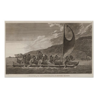 Canoe, Sandwich Islands Poster