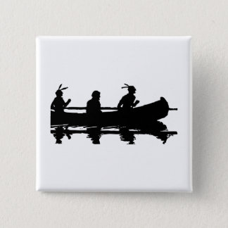Canoe Silhouette 2 Inch Square Button
