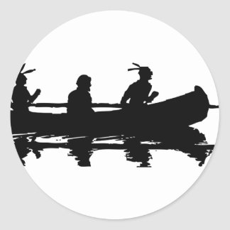Canoe Silhouette Classic Round Sticker