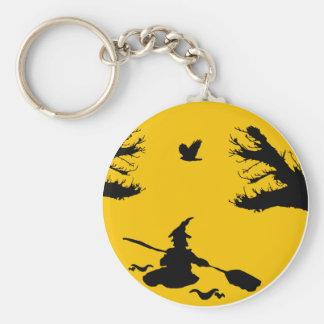 Canoe witch basic round button keychain