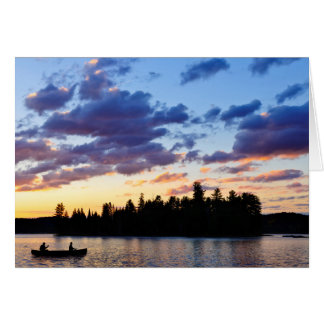 Canoeing at sunset card