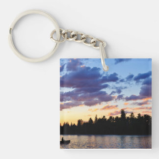 Canoeing at sunset Double-Sided square acrylic keychain