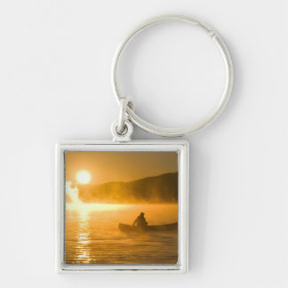 Canoeing in Lily Bay at sunrise, Moosehead Lake, Keychain