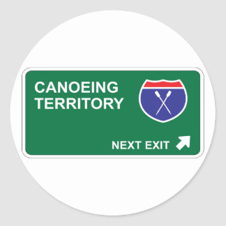 Canoeing Next Exit Classic Round Sticker