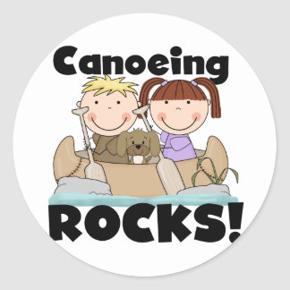 Canoeing Rocks Two Tshirts and Gifts Round Sticker