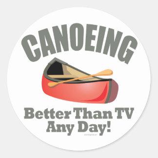 Canoeing Round Sticker