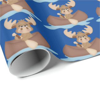 Canoeing Trip Moose wrapping paper