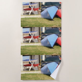 Canoes and Kayaks by Shirley Taylor Beach Towel