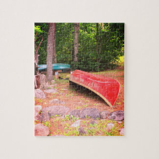 Canoes at the Cottage Rainy Day Jigsaw Puzzle