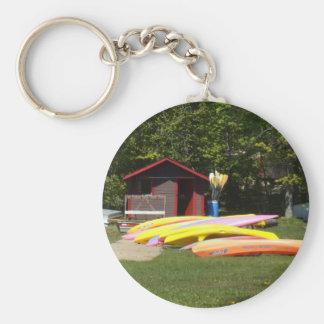 Canoes Basic Round Button Keychain
