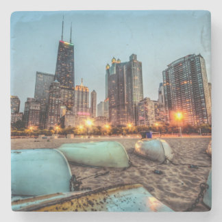 Canoes on Oak Street Beach a little after sunset Stone Coaster