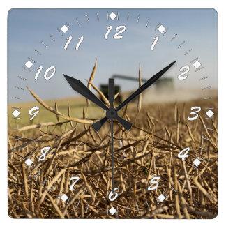 Canola Harvest Square Wall Clock