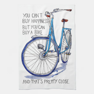 Can't buy happiness, blue bike kitchen towel