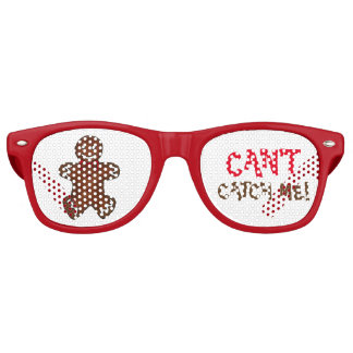 Can't Catch Me Gingerbread Man Christmas Cookie Retro Sunglasses