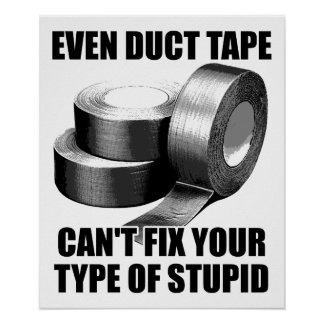 Can't Duct Tape Stupid Funny Poster