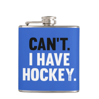 Can't I Have Hockey Funny Excuse Royal Blue Hip Flask