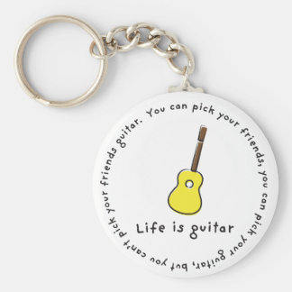 Can't Pick Your Friends Guitar! Basic Round Button Keychain