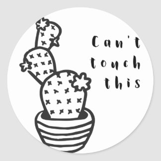 Cant Touch Cactus Round Sticker