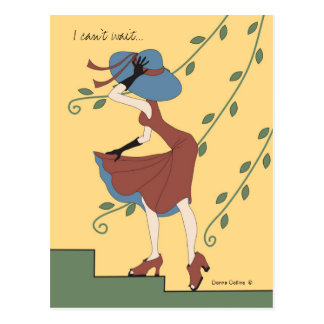 Can't wait girl in rust dress and hat postcard