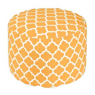 Cantaloupe White Moroccan Quatrefoil Pattern #5 Pouf