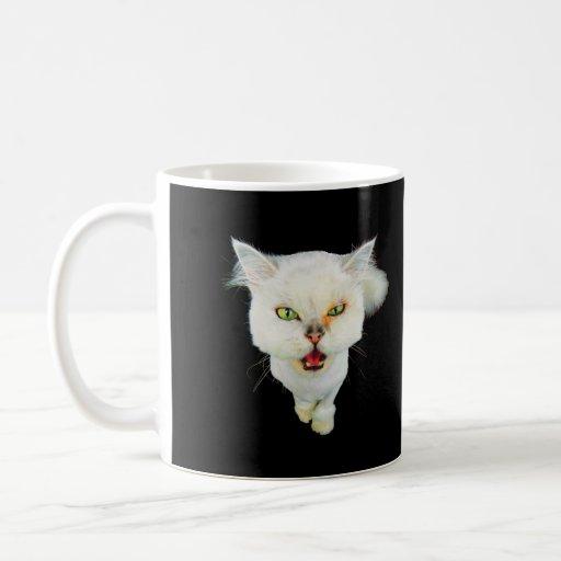 Cantankerous, cute crazy cat coffee mugs