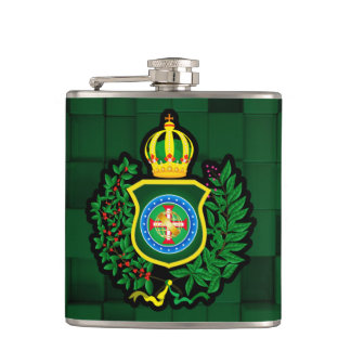 Canteen Blazon of the Imperial Flag of Brazil Hip Flask