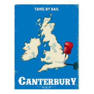 Canterbury British Isles vintage rail poster Postcard