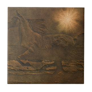 Cantering Wild Spirited Horse Faux Leather-effect Tile