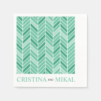 Cantilevered Chevron Cocktail Party | mint green Napkin