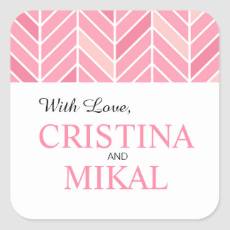 Cantilevered Chevron Favor | peony pink Square Sticker