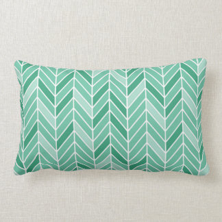 Cantilevered Chevron narrow | mint green Lumbar Pillow