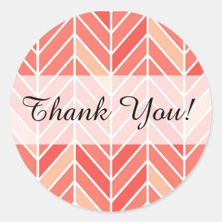 Cantilevered Chevron Thank You | peach Classic Round Sticker