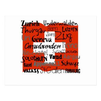 Cantons of Switzerland Card Postcard
